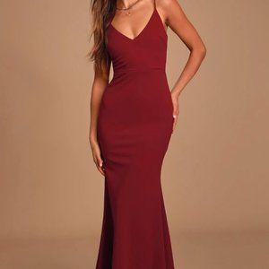 NWT Lulu's Infinite Glory Wine Red Maxi Dress